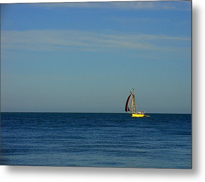 Yellow Boat On The Horizon Metal Print by Luis Esteves