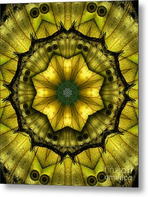 Yellow Butterfly Wing Kaleidoscope Mandala Metal Print by Janeen Wassink Searles
