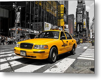 Yellow Cab At The  Times Square Metal Print by Hannes Cmarits