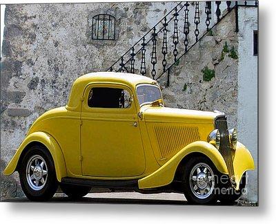 Yellow Coupe Hardtop Metal Print