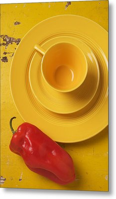 Yellow Cup And Plate Metal Print by Garry Gay