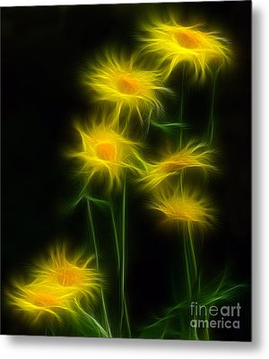 Yellow Daisy Floral  Metal Print by Marjorie Imbeau
