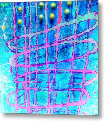Metal Print featuring the painting Yellow Dots by Lolita Bronzini