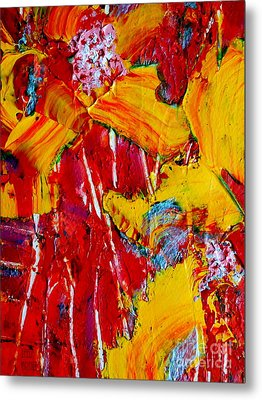 Yellow Flowers On Red Metal Print