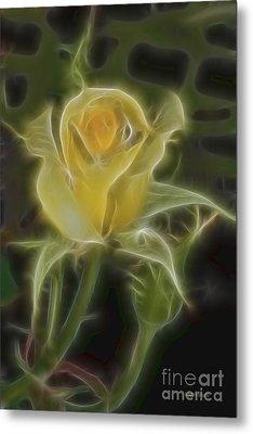 Yellow Fractalius Rose Metal Print by Deborah Benoit