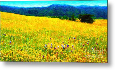 Yellow Hills . Long Cut Metal Print by Wingsdomain Art and Photography
