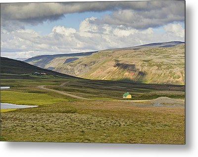 Yellow House In Iceland Landscape Metal Print by Marianne Campolongo