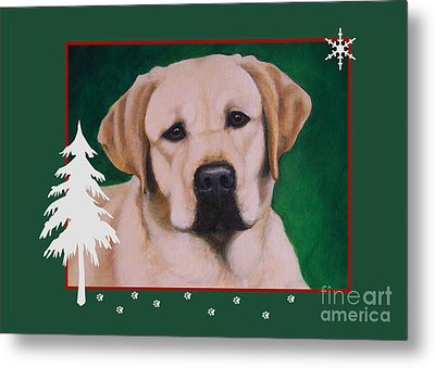 Yellow Labrador Portrait Christmas Metal Print