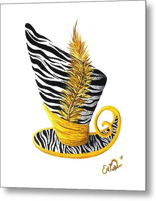 Yellow Magic Hat Metal Print by Oddball Art Co by Lizzy Love