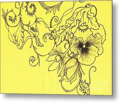 Yellow Pansy And Ladybug Metal Print by Denise Hoag