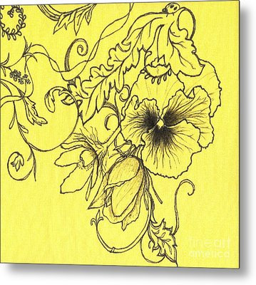 Yellow Pansy Metal Print by Denise Hoag