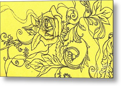 Yellow Rose And Ladybug Metal Print
