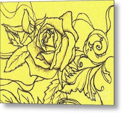 Yellow Rose Metal Print by Denise Hoag