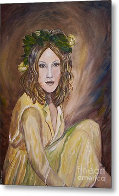 Metal Print featuring the painting Yellow Rose by Julie Brugh Riffey