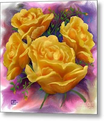 Yellow Roses Floral Art Metal Print by Judy Filarecki