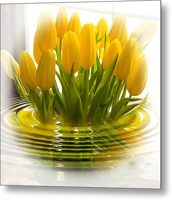 Yellow Tulips Metal Print by Trudy Wilkerson