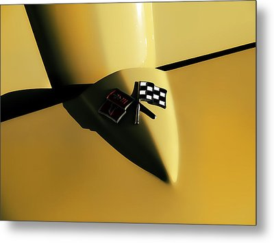 Yellow Vette Badge Metal Print by Douglas Pittman