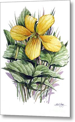 Metal Print featuring the painting Yellow Violet by Bob  George