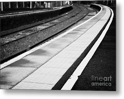 Yellow Warning Line And Textured Contoured Tiles Railway Station Platform And Track Northern Ireland Metal Print by Joe Fox