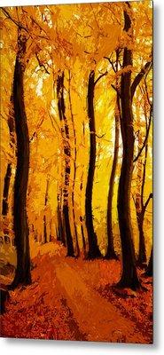 Yellow Wood Metal Print by Steve K