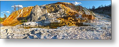 Yellowstone National Park - Mammoth Hot Springs - Panorama Metal Print by Gregory Dyer