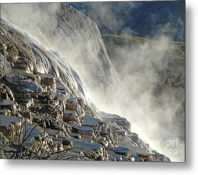 Yellowstone National Park - Minerva Terrace - Steam Metal Print by Gregory Dyer