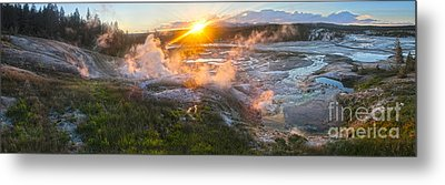 Yellowstone Norris Geyser Basin At Sunset Metal Print by Gregory Dyer