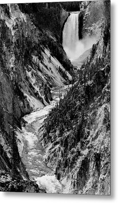 Yellowstone Waterfalls In Black And White Metal Print