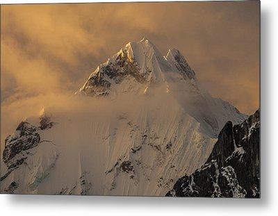Yerupaja Summit Ridge 6617m At Sunset Metal Print by Colin Monteath