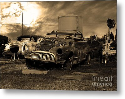 Yesterday Came Early . Tomorrow Is Almost Over 2 . Sepia Metal Print by Wingsdomain Art and Photography