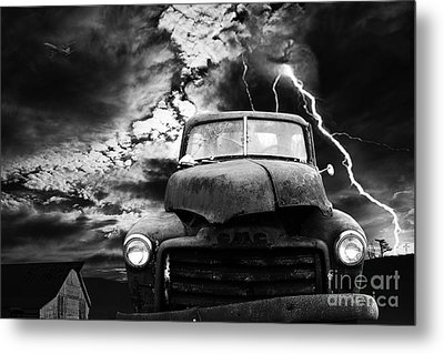 Yesterday Came Early . Tomorrow Is Almost Over . Bw Metal Print by Wingsdomain Art and Photography