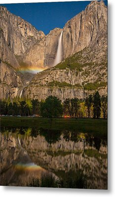 Yosemite Falls Moonbow Reflection Metal Print by Marc Crumpler
