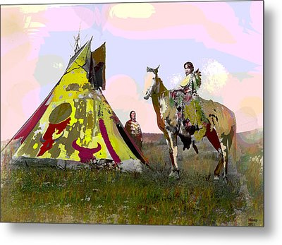 Metal Print featuring the mixed media Young Chief by Charles Shoup