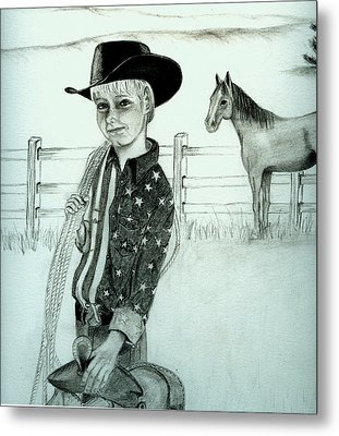 Young Cowboy Metal Print by Carolyn Ardolino