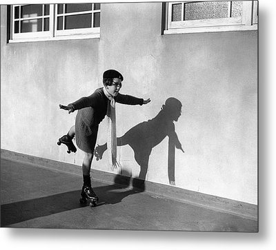 Young Girl (7-9) On Rollerskates (b&w) Metal Print by Hulton Archive