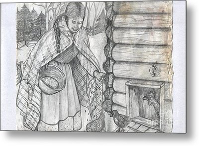 Young Girl Feeding The Chickens In The 1800's Metal Print