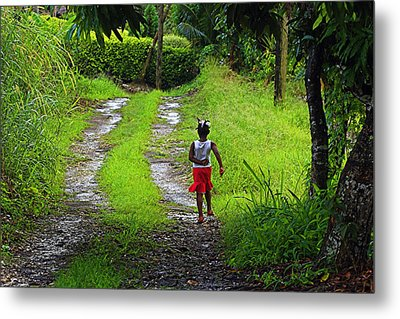 Metal Print featuring the photograph Young Girl- St Lucia by Chester Williams
