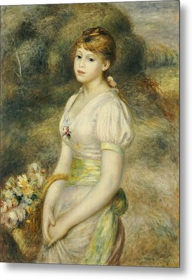 Young Girl With A Basket Of Flowers Metal Print by Pierre Auguste Renoir