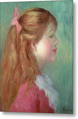 Young Girl With Long Hair In Profile Metal Print by Pierre Auguste Renoir