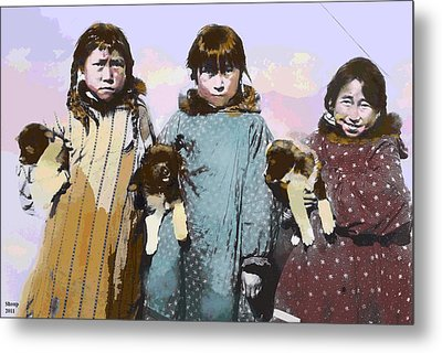 Metal Print featuring the mixed media Young Native American Eskimo by Charles Shoup