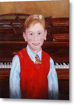 Young Piano Student Metal Print by Phyllis Barrett