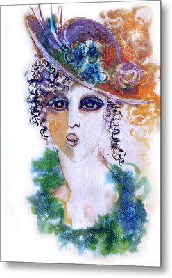 Young Woman Face With Curls In Blue Green Dress Purple Hat With Flower  Metal Print