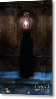 Young Woman In Black Lantern In Front Of Her Face Metal Print by Jill Battaglia