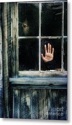 Young Woman Looking Through Hole In Window Metal Print by Jill Battaglia