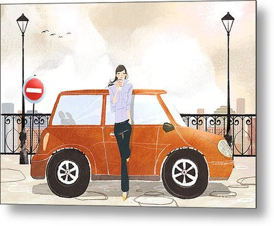 Young Woman Standing In Front Of Car Drinking Takeaway Coffee Metal Print