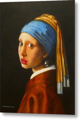 Young Woman With Pearl Earring Metal Print by Hugo Palomares