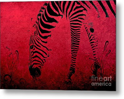 Zebra On Red Metal Print by Aimelle