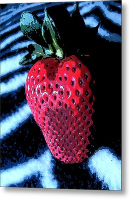 Zebra Strawberry Metal Print by Kym Backland