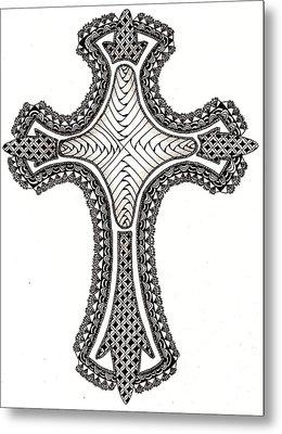 Zentangle Cross Metal Print by Michelle Kidwell