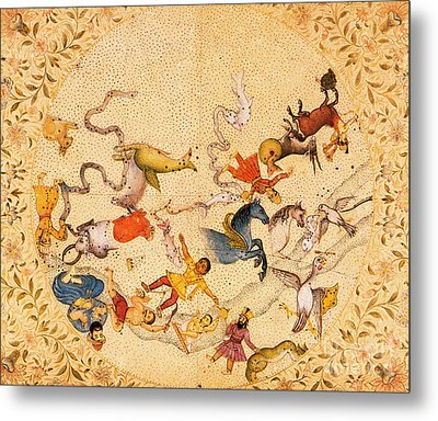 Zodiac Signs From Indian Manuscript Metal Print by Science Source